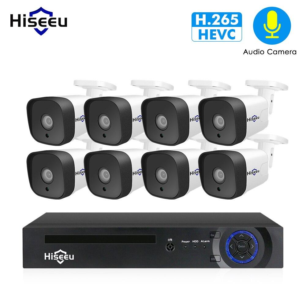 Hiseeu 8CH 1080 P POE NVR видеонаблюдения Системы комплект H.265 2.0MP аудио запись IP Камера Водонепроницаемый открытый видео набор для наблюдения