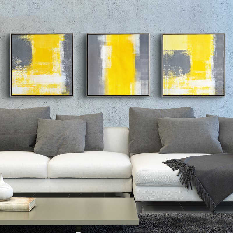 Yellow And Gray Canvas Wall Art.Yellow And Grey Modern Minimalist Abstract Unframed Painting Decorative Living Room Sofa Backdrop Canvas Wall Art Picture