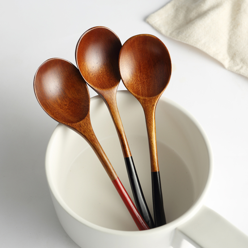 2pcs Wooden Spoons Kitchen Japanese Style Large Rice Soup Spoon Wood Kids Spoon Coffee Tea Ice Cream Wooden Utensils Tableware (3)