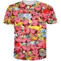 NEW Kirby Collage T Shirt 3d Print Pink Nintendo Character Cartoon Women Men T Shirt Summer