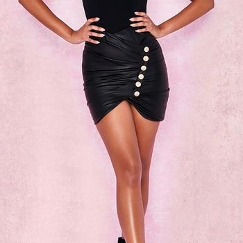09d48023a4 faldas mujer moda 2019 faldas cortas plisada PU cuero falda negra tubo  Talle alto mini sexy mujeres falda cintura alta