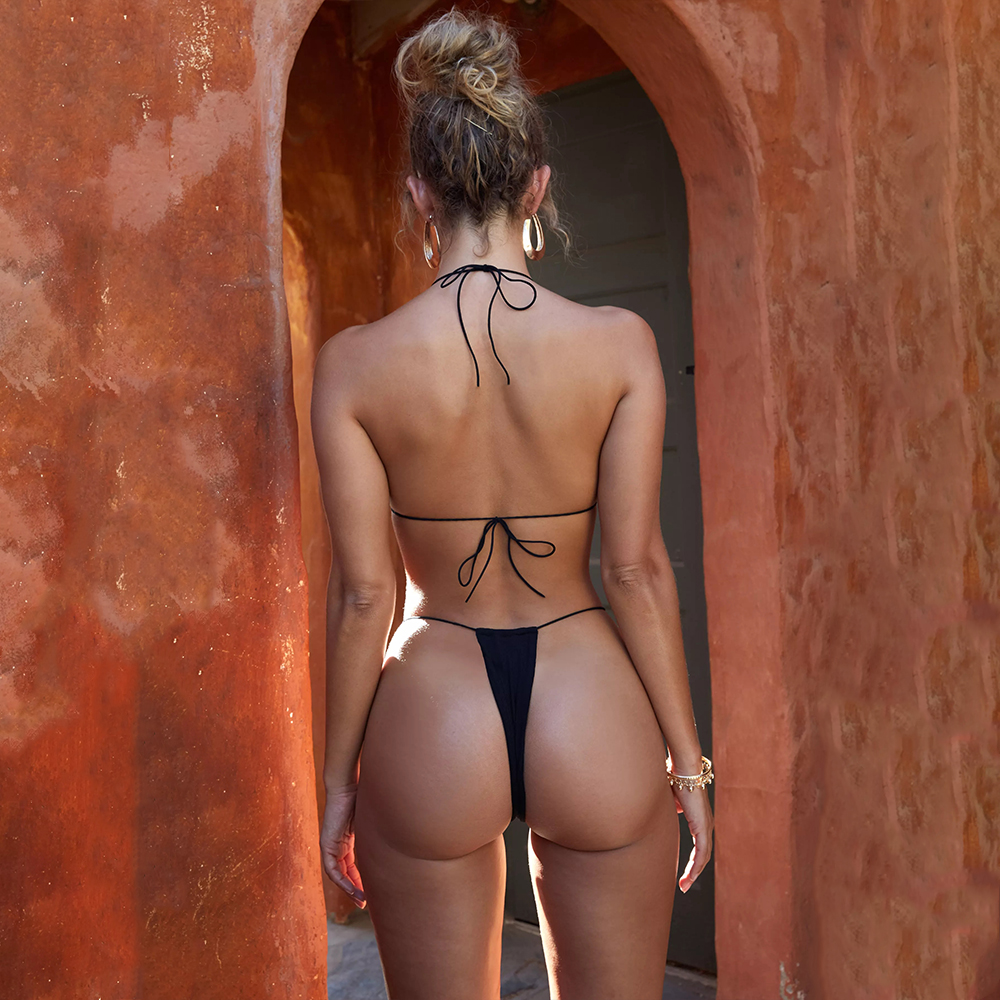 string bandage swimsuit sexy thong bikini push up 2018 micro swimwear halter swim bathing suit women tanga bikinis set swimwear 7