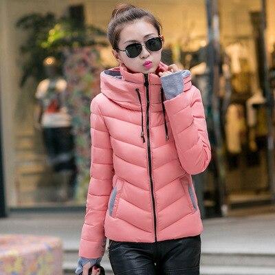 Модные разноцветные зимние теплые тонкие женские парки с карманами в Корейском стиле на молнии с капюшоном женские парки длинными рукавами