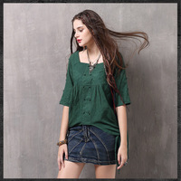 Green Shirts Women Summer 2018Boho Ladies Short Sleeve Top Flower Embroidery Ladies Blouses Casual Tops Women