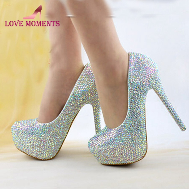Size 34-45 Wedding Bridal Shoes AB Crystal Bling Bling Cinderella Shoes Amazing Bridal High Heels Prom Evening Party Pumps cinderella high heels crystal wedding shoes 14cm thin heel rhinestone bridal shoes round toe formal occasion prom shoes