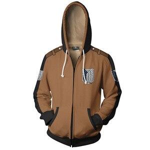 Image 2 - Anime Attack On Titan hoodie Jacket Shingeki no Kyojin Legion Eren Cosplay Costume Sweatshirts Zipper Hoodies