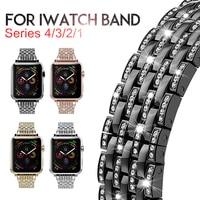 Laforuta Metal Bracelet for Apple Watch Band 38mm 40mm iWatch Bling Strap 42mm 44mm Women Luxury Wristband for Series 4 3 2 1