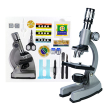 цена на Birthday Gift Illuminated 1200X Zoom Metal Monocular Biological Microscope Beginner Kids Children Student Educational Microscope