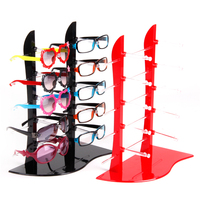 Wholesale 1Pc Plastic Sunglass Display Stand Holder Glasses Rack For 10 Pairs Black/Red