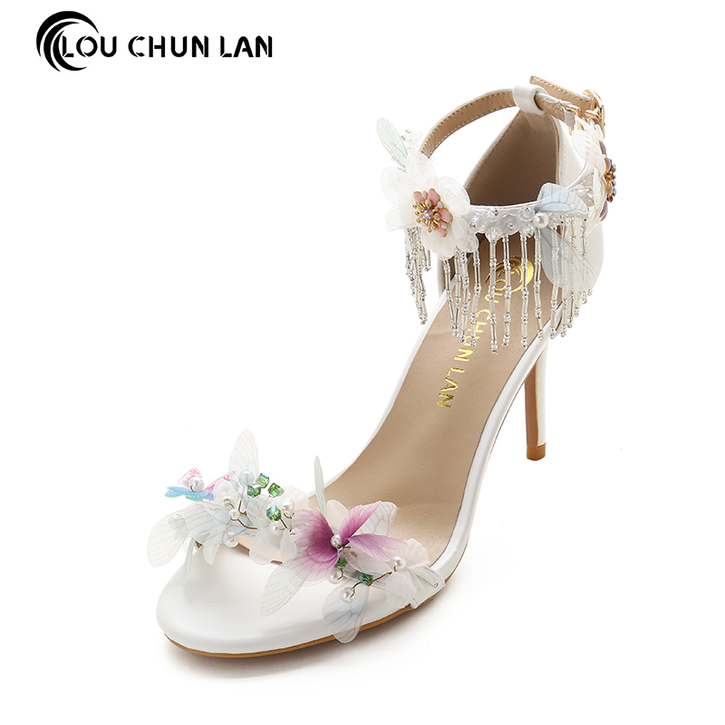 Aesthetic rhinestone tassel butterfly bridal shoes ultra high heels thin heels shoes summer women's sandals wedding shoes rhinestone wedding shoes ultra high heels thin heels wedding shoes aesthetic pointed toe formal dress shoes sandals