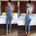 2016 nova alta neck cut out bandage bodysuits uma peça define atacado sexy Manga Comprida oco out shoulder Ladies Macacões