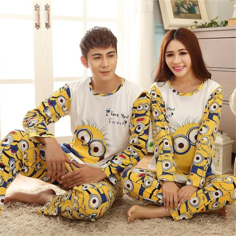 New Fashion spring autumn pajamas Set Night long sleeve cartoon lovers homewear couples matching adult minion