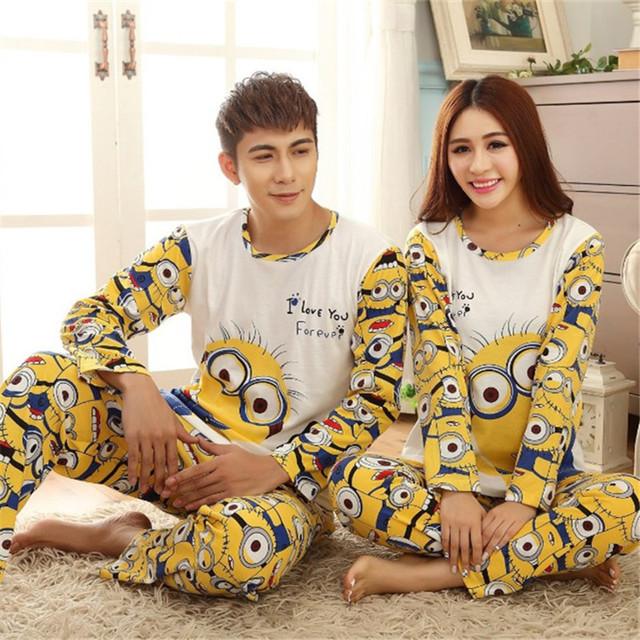 Nueva Moda de primavera y otoño pijamas Set Noche juego adultos minion parejas amantes de la historieta homewear de manga larga pijamas conjuntos