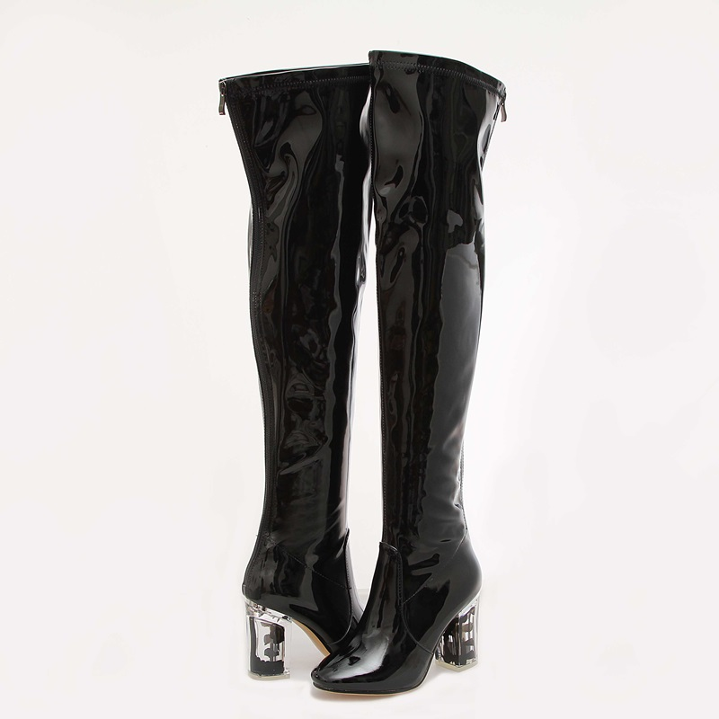 Femme Hauts Chaussures Cuir Mujer Talon De Black Sexy En Genou Bottes Botas Mode Talons Le Noir Cristal Cuissardes Sur Nouveau Verni a6nW5Z4Hq