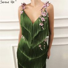 Green Sleeveless Tassel Prom Dresses Mermaid Serene Hill