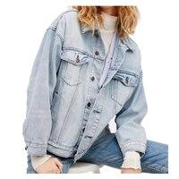 נשים חמות סגנון חדש אופנה מגניב Vintage Ripped ג 'ינס מעיל שקיות רחוב סתיו אביב מעיל מזדמן מעיל ג' ינס שטף ג 'ינס C