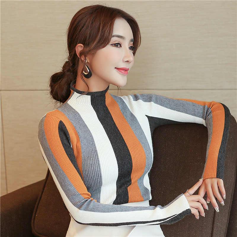 Sueter mujer invierno 2019 uzun kollu çizgili örme kazak kadınlar moda zarif sonbahar kazak balıkçı yaka kazak 1327 80