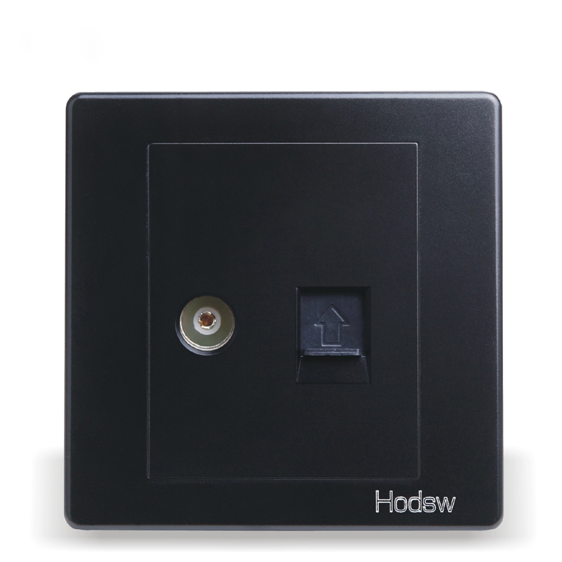 Wall Switch And Socket, 86 Type Concealed Black Steel Frame, Cable And Cable TV Socket Network With TV Socket, PC 220V 10A