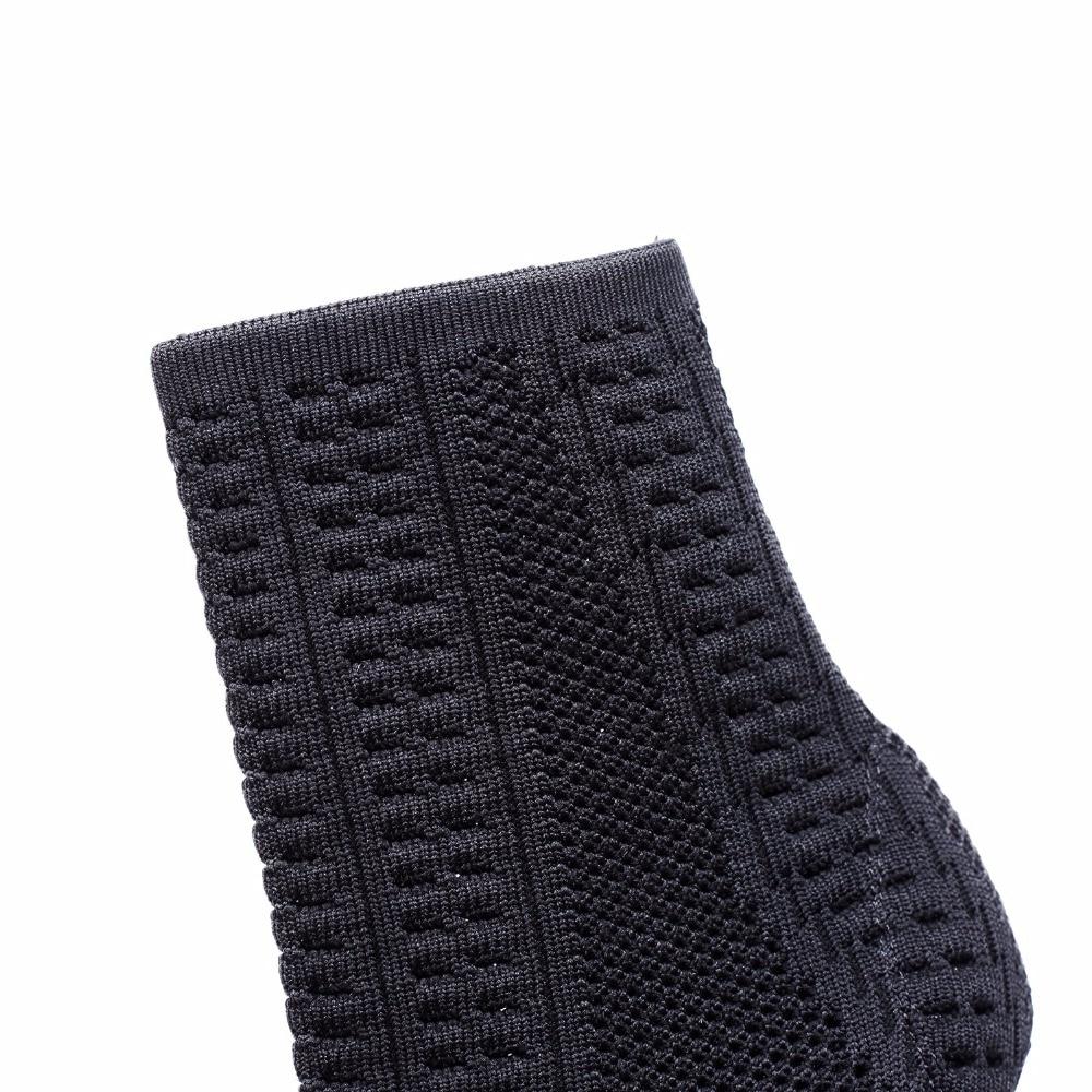 2018 Bout À Élégant Tretch Ouvert Tricot Hauts Courtes Black De Talons Design Slip Brand Bottines Printemps sur Dames Nouveau Chaussures Cheville Bottes Noires Femmes KcJu15lTF3