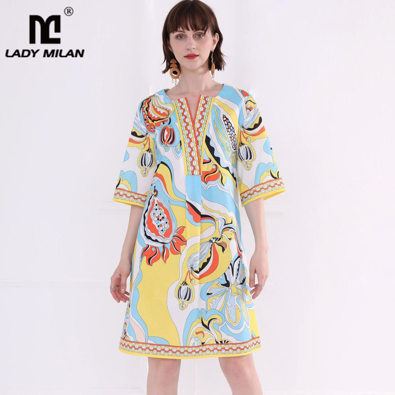 Women s Runway Dresses V Neck Half Sleeves Printed Fashion High Street Summer Casual Holiday Dresses