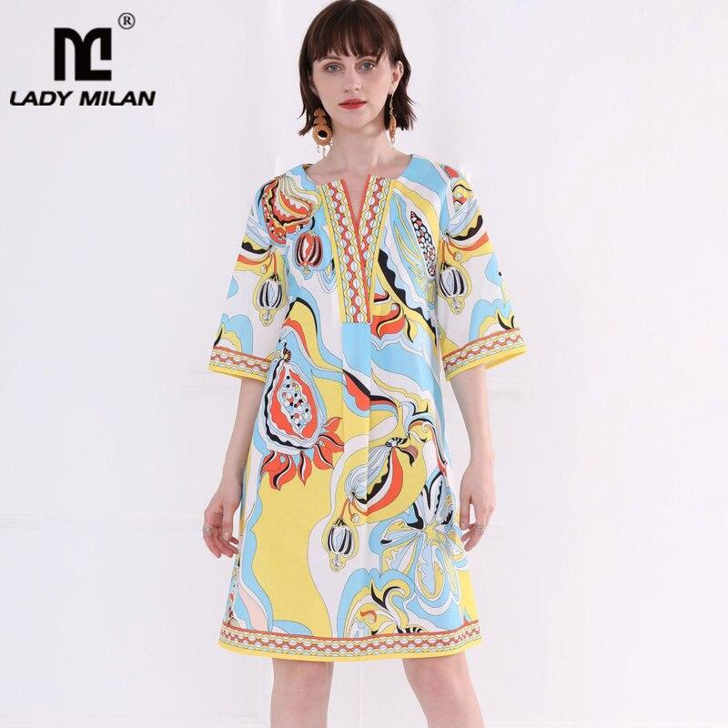 Женские платья для подиума с v-образным вырезом, с коротким рукавом, с принтом, модные летние повседневные праздничные платья