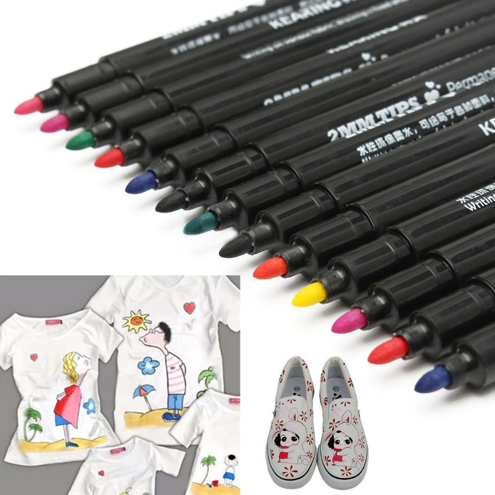 10pcs Fabric Marker Pens Permanent Paint Pens For DIY Textile Clothes T-Shirt Shoes Patchwork Crafts Sewing Accessories