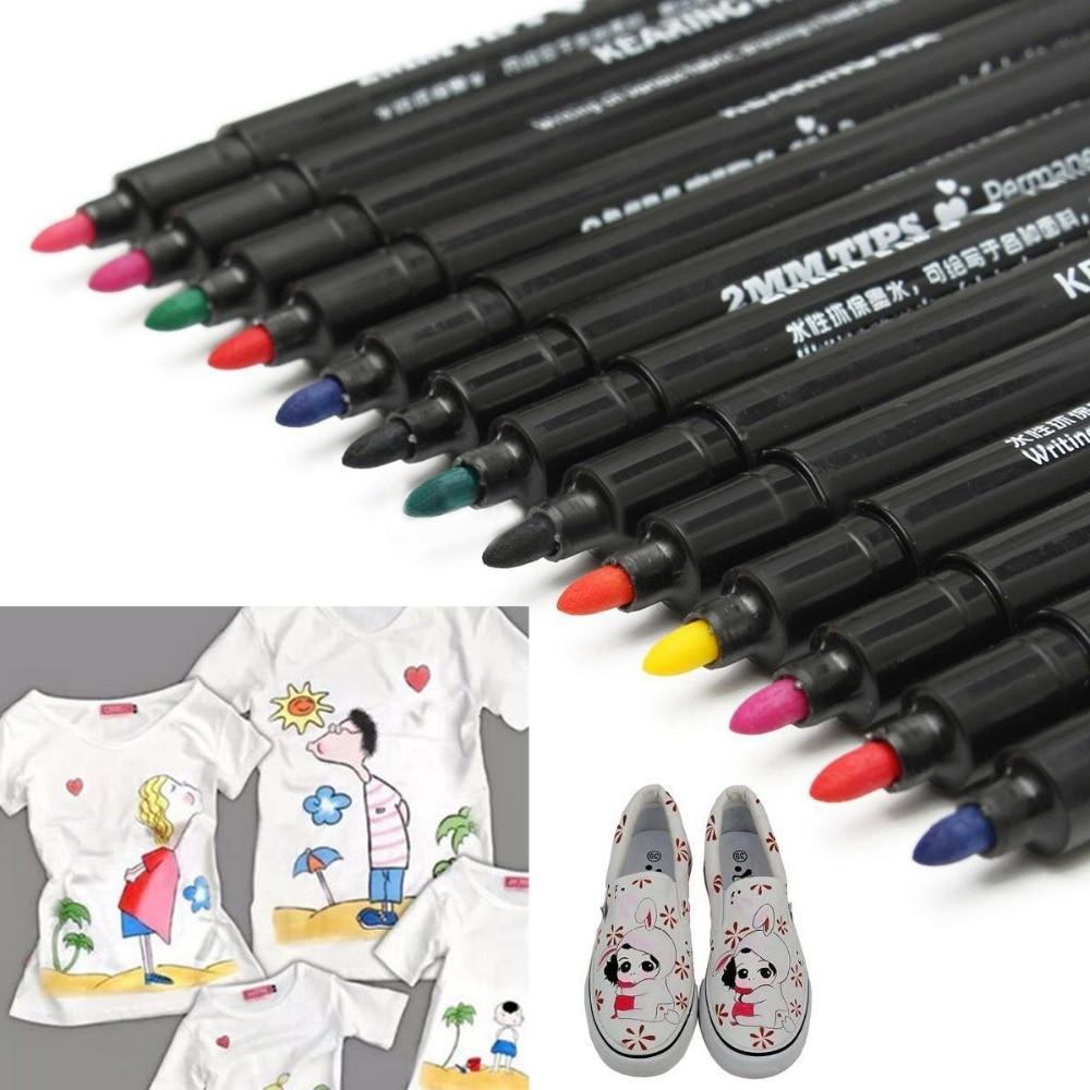 10pcs Fabric Marker Pens Permanent Paint Pens For DIY Textile Clothes T-Shirt Shoes Patchwork Crafts Sewing Accessories