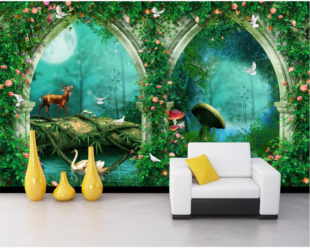 Custom wallpaper for walls 3 d photo fairy tale forest for Fairy tale wall mural