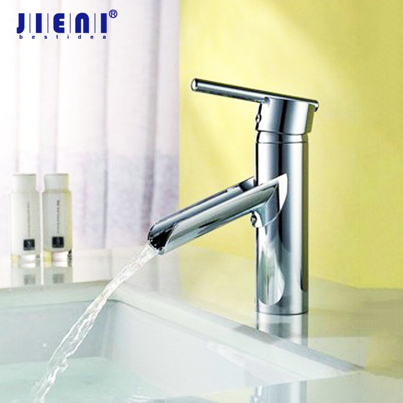 Solid Brass Bathroom Lavatory Vessel Sink Polished Chrome Brass Waterfall Faucet basin mixer tap Deck Mounted faucet chrome polished solid brass bathroom sink faucet waterfall spout bathroom basin mixer tap wall mounted