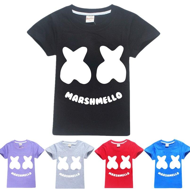 Marshmello DJ Music Kid/'s boys girls Youth Short sleeve cotton Tops T-Shirt New