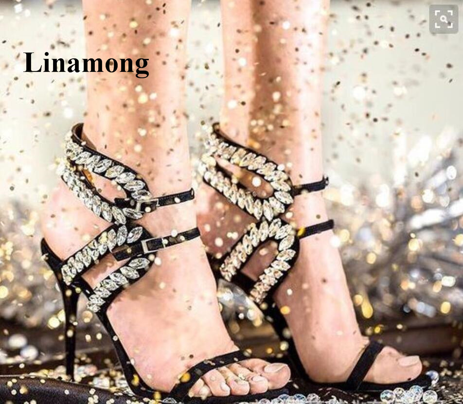 2018 Newest Fashion Sexy Crystal Party Thin High Heel Summer Women Sandals Buckle Strap Fashion Multiple Bands Sexy Heel Sandals