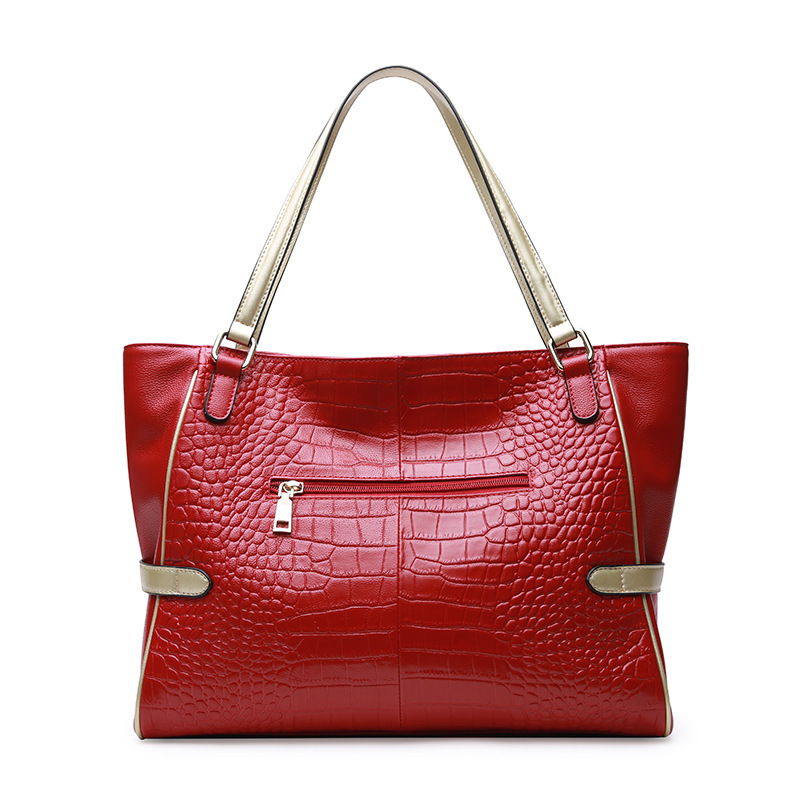 Alligator Genuine Leather Tote Bags For Women Vintage Soft Red Cow Leather Handbag