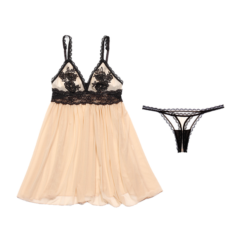 Yhotmeng new sexy temptation perspective strap lace flower nightdress adjustable with underwear nightdress suit women in Robe Gown Sets from Underwear Sleepwears