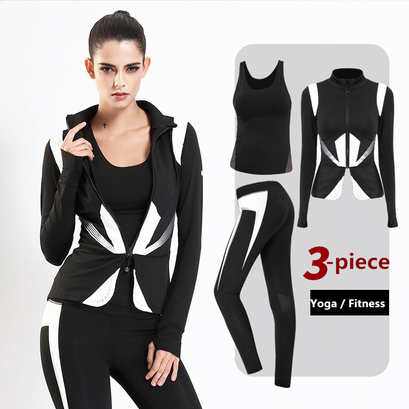 3 Pieces Suit Women Yoga Sets Workout Sportswear Yoga Pants Fitness Suits Running Training Quick Dry