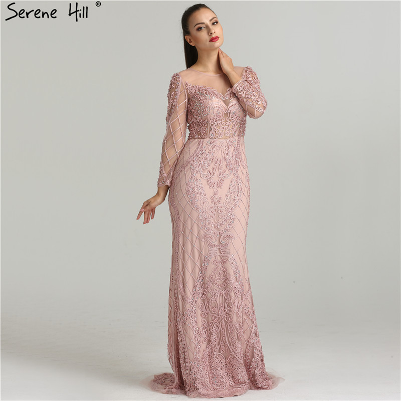 Real Photo Pink Mermaid Evening Gowns 2019 Long Sleeves Pearls Crystal Fashion Sexy Elegant  Formal Evening Dress LA6274