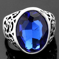 Free shipping >>>>>>Mens Womens Large Faceted Blue CZ Stainless Steel Ring #7/8.5/9.5