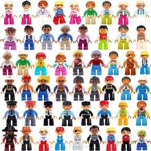 1 шт., Duplo блоки, экшн-фигурки, семейный рабочий, полицейский строительный блок, совместимы с Legoing Duploed, развивающие игрушки для детей, малышей