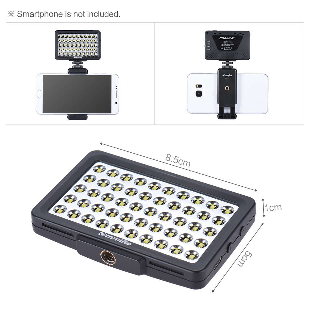 CM L50 CoMiray LED Video Light Multi Functional Mini Led Light Phone ...