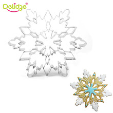 Delidge 1PC Large Christmas Snowflake Cookie Cutter Mold 3D Stainless Steel Pastry Biscuit Fondant Cake Baking For Kitchen