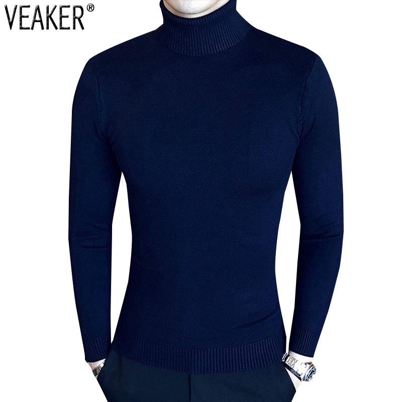 Sweaters Turtleneck Autumn Men's Pullover Slim-Fit Knitted Male Red White Black