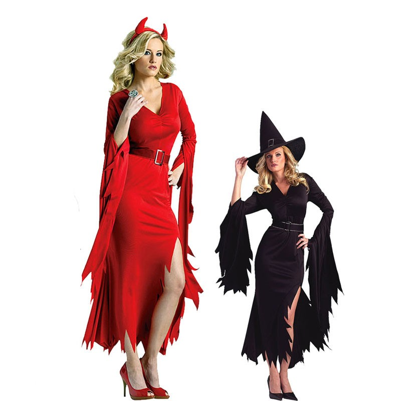 b4472ec5b12 Buy Online 2018 Sexy Black Red Women Devil Witch Dress Cosplay Costume  Halloween Female Party Performance Dress Supplies Purim For Sale at  AliExpress