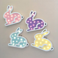 Jiaderui Cute Rabbit Led Night Light Wooden For Children Kids Gift Wall Lamp Bedside Bedroom Living
