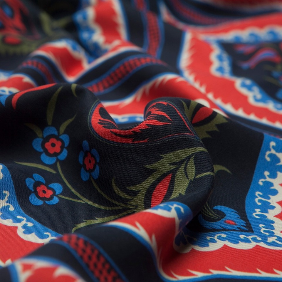 dress skirt sewing for shirt craft by the yard Totem Style: Red and navy paisley floral print silk spun fabric cheongsam