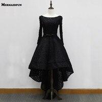 2017 Real Photos Black Lace Long Sleeve Hi Lo Short Front Long Back Elegant Evening Dresses