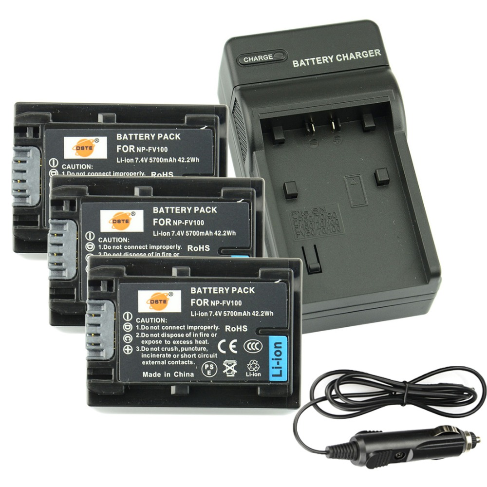 DSTE 3PCS NP-FV100 Rechargeable Battery + Travel and Car Charger for Sony CX150E CX180E CX210E CX270E CX350E CX360E Camera аккумулятор для фотокамеры neutral oem 2 4500mah np fv100 fv100 sony np fv30 np fv50 np fv70 sx63e sx83e sony np fv100
