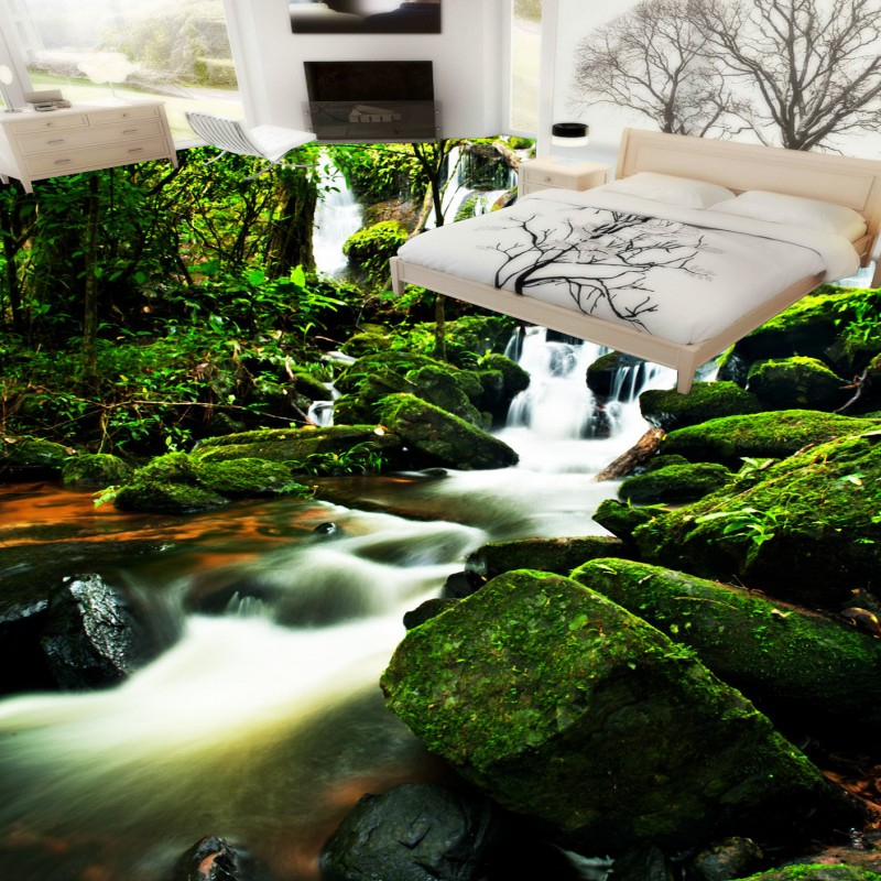 Free Shipping River water stone stream 3D floor wallpaper living room study home studio self-adhesive floor mural free shipping marble texture parquet flooring 3d floor home decoration self adhesive mural baby room bedroom wallpaper mural