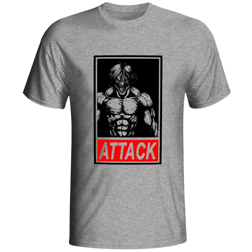 Creative Attack Titan T Shirt Design Novelty Casual Fashion Short Sleeve Cotton T-shirt Anime Hip Hop Print Unisex Tee
