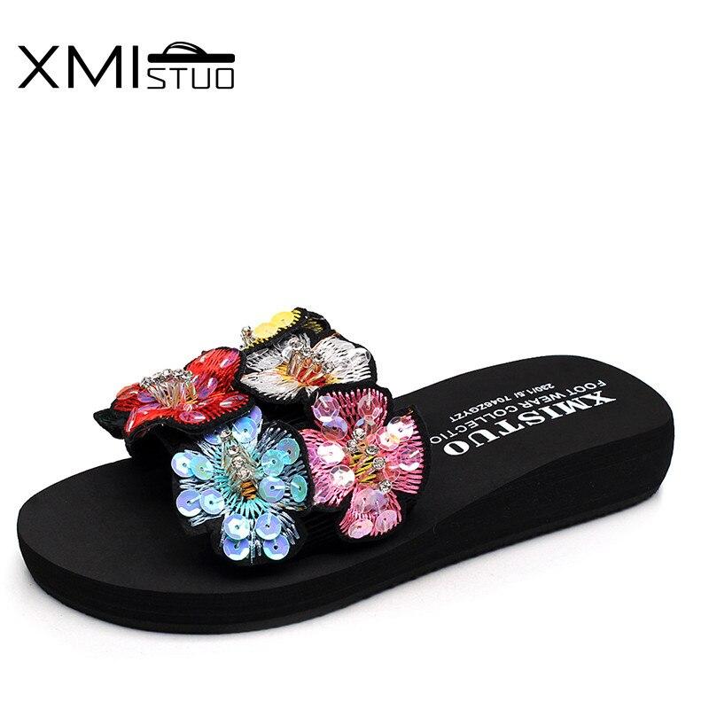 XMISTUO Summer Sandals Slippers for Women Fashion Flower Upper Sandals Outside 3CM Low-Heels Beach Rubber Sandals Slides 7188 mnixuan women slippers sandals summer