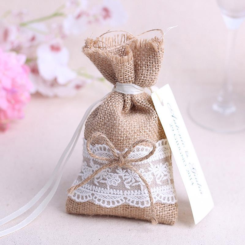 2017 New Year Wedding Candy Bag With Diy Kraft Tag Burlap Pouch Lace Sack Rustic Party Decorations Favours 16x9cm In Gift Bags Wring Supplies