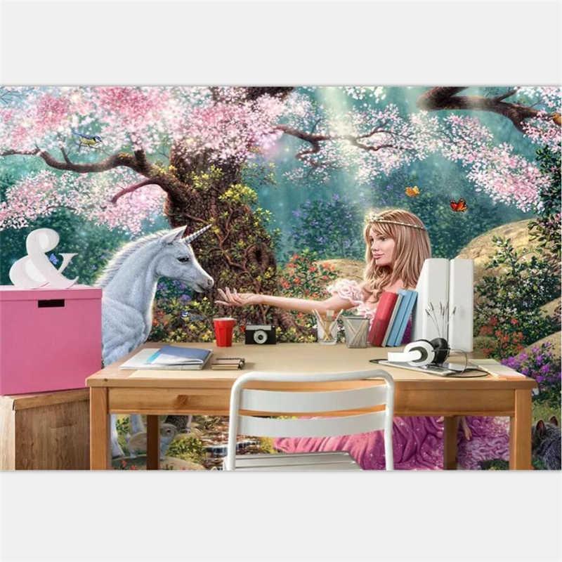 Tapeta beibehang niestandardowe tapety salon sypialnia marzycielski kreskówka różowe drzewo kwiatowe księżniczka biały koń tło